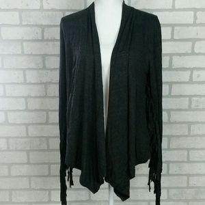 ✨Heathered Gray Fringed Cardigan MD